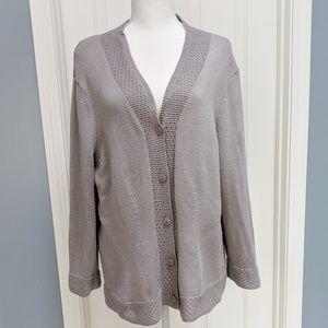 Talbots cotton v-neck cardigan with open knit hem